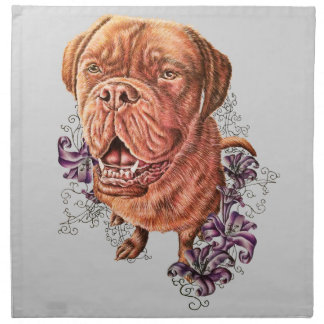 Drawing of Brown Mastiff Dog Art and Lilies Napkin