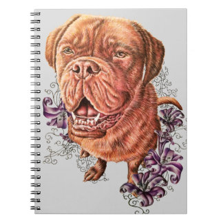 Drawing of Brown Mastiff Dog Art and Lilies Notebook