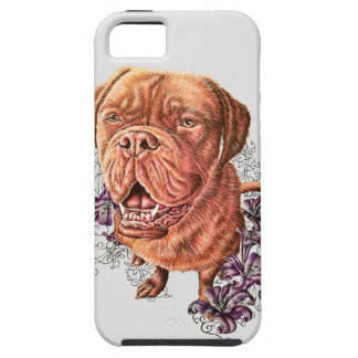 Drawing of Brown Mastiff Dog Art and Lilies Tough iPhone 5 Case