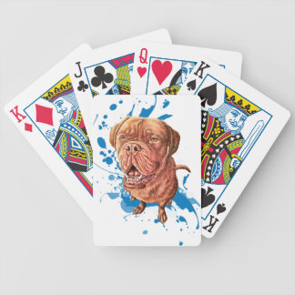 Drawing of Brown Mastiff Dog Art and Paint Bicycle Playing Cards
