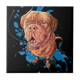 Drawing of Brown Mastiff Dog Art and Paint Ceramic Tile