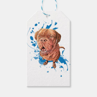 Drawing of Brown Mastiff Dog Art and Paint Gift Tags