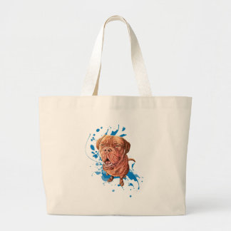 Drawing of Brown Mastiff Dog Art and Paint Large Tote Bag