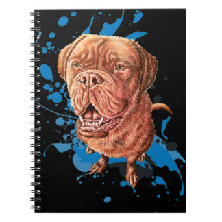 Drawing of Brown Mastiff Dog Art and Paint Spiral Notebook