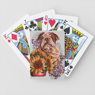 Drawing of Bulldog Sunflowers and Lilies Bicycle Playing Cards