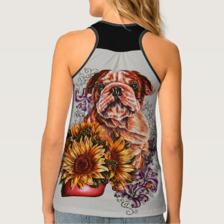Drawing of Bulldog Sunflowers and Lilies Dog Shirt