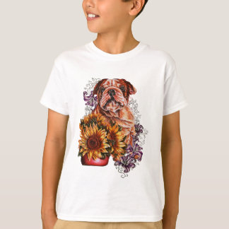 Drawing of Bulldog Sunflowers and Lilies T-Shirt