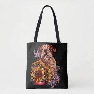 Drawing of Bulldog Sunflowers and Lilies Tote
