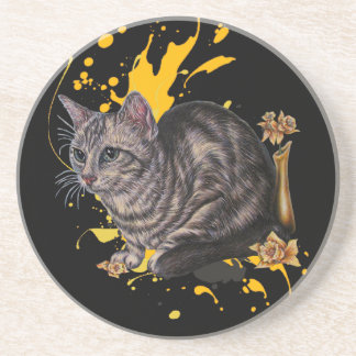 Drawing of Cat and Daffodils Animal Art and Paint Coaster