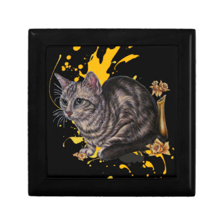 Drawing of Cat and Daffodils Animal Art and Paint Gift Box