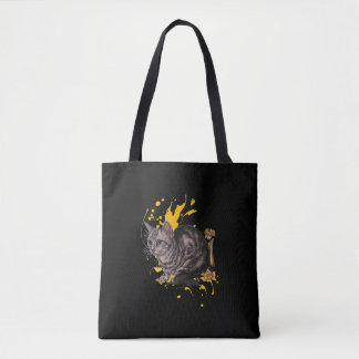 Drawing of Cat and Daffodils Animal Art Tote