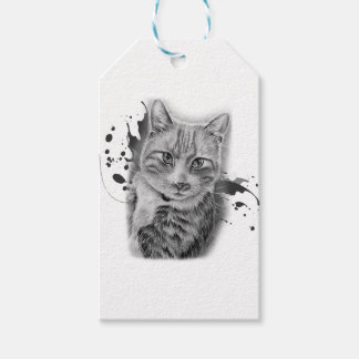 Drawing of Cat Art with Black and Grey Paint Gift Tags