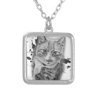 Drawing of Cat Art with Black and Grey Paint Silver Plated Necklace