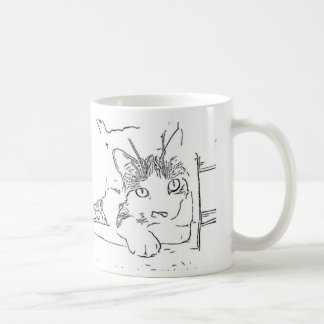 Drawing of Cat Coffee Mug