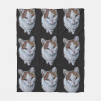 Drawing of Cat White and Orange on Blanket