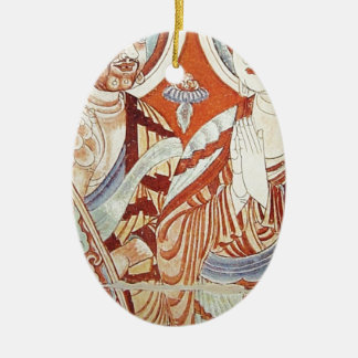Drawing of Central Asian Buddhist Monks Ceramic Ornament