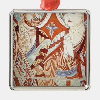 Drawing of Central Asian Buddhist Monks Metal Ornament