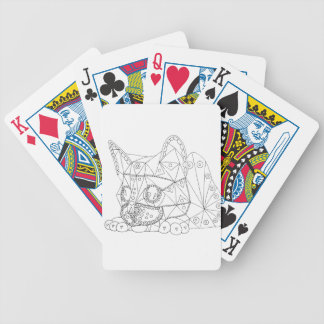 Drawing of Colorable Cat for Coloring Bicycle Playing Cards