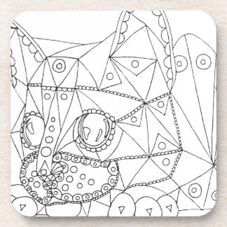 Drawing of Colorable Cat for Coloring Coaster