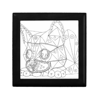 Drawing of Colorable Cat for Coloring Gift Box