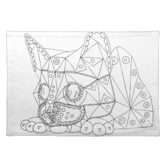 Drawing of Colorable Cat for Coloring Placemat