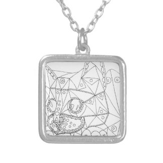 Drawing of Colorable Cat for Coloring Silver Plated Necklace