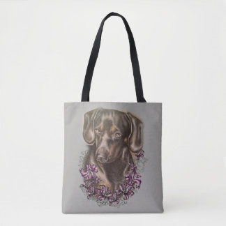 Drawing of Dachshund Dog Art and Lilies on Tote