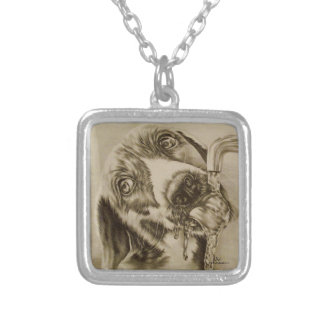 Drawing of Dog Drinking on Necklace Jewelry
