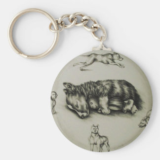 Drawing of Dog Sleeping with Toy on Keychain