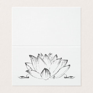 Drawing of flower of Lotus, vintage, grung texture Card