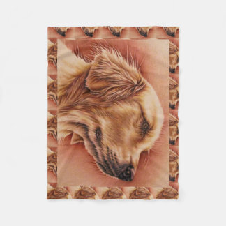 Drawing of Golden Retriever on Blanket