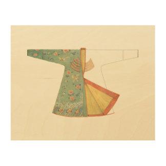 Drawing of Half-Finished Kimono Wood Wall Decor