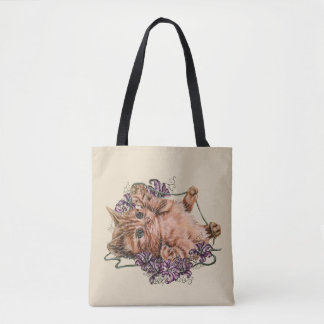 Drawing of Kitten as Cat with Lilies on Tote