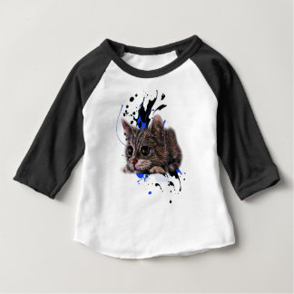 Drawing of Kitten as Cat with Paint Art Baby T-Shirt