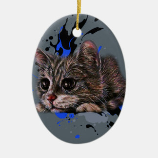 Drawing of Kitten as Cat with Paint Art Ceramic Ornament