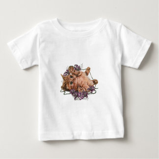 Drawing of Kitten as Cat with String and Lilies Baby T-Shirt