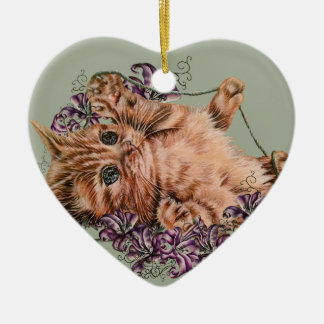 Drawing of Kitten as Cat with String and Lilies Ceramic Ornament
