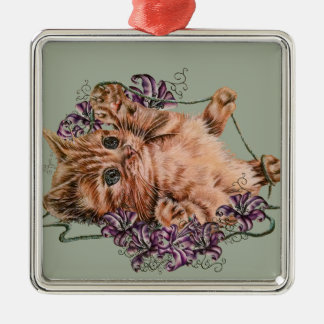 Drawing of Kitten as Cat with String and Lilies Metal Ornament