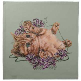 Drawing of Kitten as Cat with String and Lilies Napkin