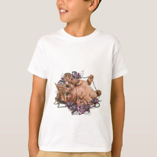 Drawing of Kitten as Cat with String and Lilies T-Shirt