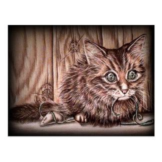 Drawing of Kitten Cute Pet Portrait Cat Postcard