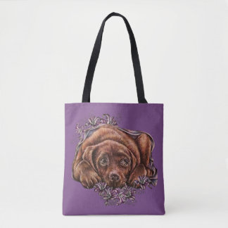 Drawing of Labrador Puppy and Lilies on Tote