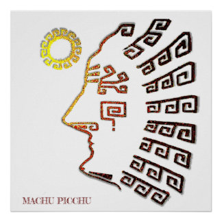Drawing of Machu_Picchu Silhouette Poster