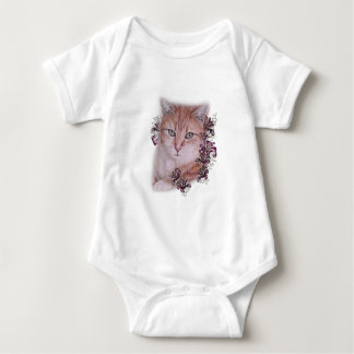 Drawing of Orange Tabby Cat and Lilies Flowers Baby Bodysuit