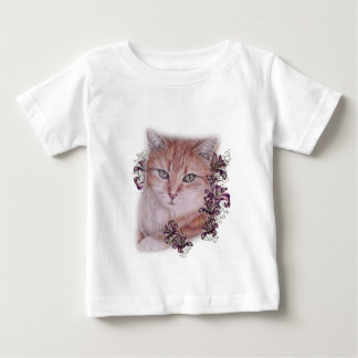 Drawing of Orange Tabby Cat and Lilies Flowers Baby T-Shirt