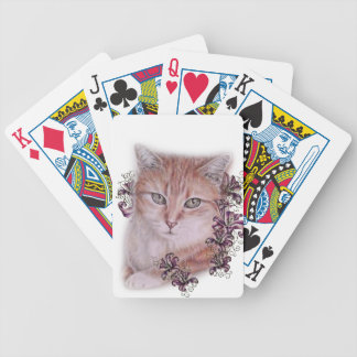 Drawing of Orange Tabby Cat and Lilies Flowers Bicycle Playing Cards