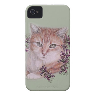 Drawing of Orange Tabby Cat and Lilies Flowers iPhone 4 Case