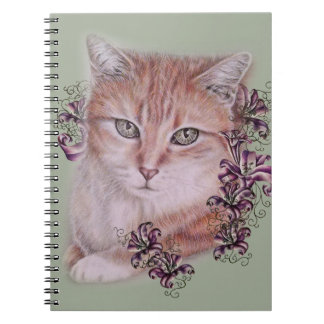 Drawing of Orange Tabby Cat and Lilies Flowers Notebooks