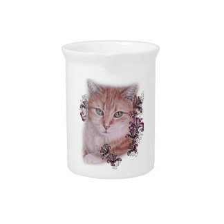 Drawing of Orange Tabby Cat and Lilies Flowers Pitcher