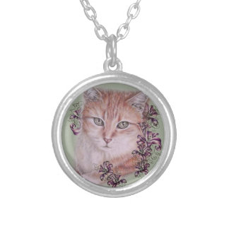 Drawing of Orange Tabby Cat and Lilies Flowers Silver Plated Necklace